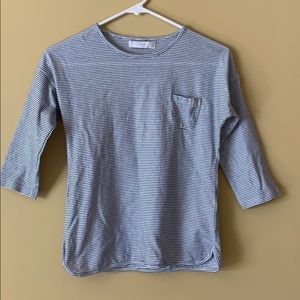 Mango striped quarter sleeve tee
